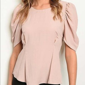 Tops - Puff Sleeve Light Pink Short Sleeve Top